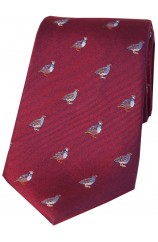 Soprano Grouse and Partridge On Wine Ground Country Silk Tie