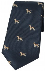 Soprano Pointer Dogs On Blue Ground Country Silk Tie