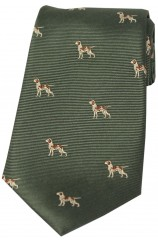 Soprano Pointer Dogs On Green Ground Country Silk Tie