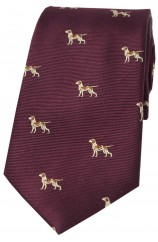 Soprano Pointer Dogs On Wine Ground Country Silk Tie