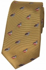 Soprano Grouse and Partridge On Mustard Ground Country Silk Tie