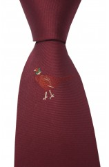 Soprano wine Single Motif Standing Pheasant Country Silk Tie
