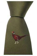 Soprano Single Motif Standing Pheasant On Green Ground Country Silk Tie