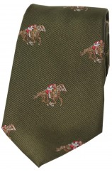 Soprano Jockeys and Horses On Green Ground Country Silk Tie