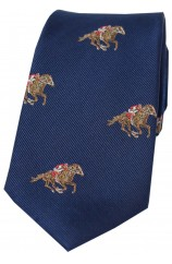 Soprano Jockeys and Horses On Blue Ground Country Silk Tie