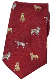 Soprano Dogs On Red Ground Country Silk Tie