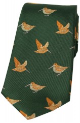 Soprano Woodcocks On Country Green Ground Country Silk Tie