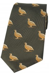Soprano Grouse On Country Green Ground Country Silk Tie