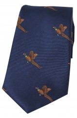 Soprano Flying Pheasant On Navy Ground Country Silk Tie