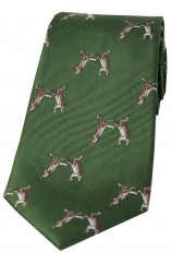 Soprano Boxing Hares On Country Green Ground Country Silk Tie