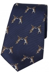 Soprano Boxing Hares On Navy Ground Country Silk Tie