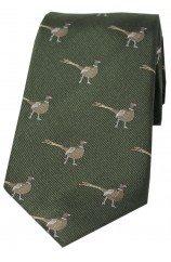 Soprano Standing Male Pheasant on Green Ground Country Silk Tie