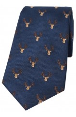 Soprano Stags Heads On Navy Ground Country Silk Tie