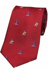 Soprano Sailing Boats on Red Ground Country Silk Tie