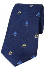 Soprano Sailing Boats on Blue Ground Country Silk Tie