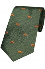 Soprano Foxes on Green Country Silk Tie