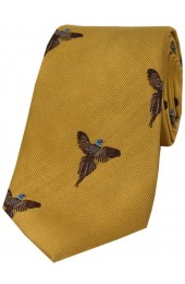 Soprano Flying Pheasant On Gold Ground Country Silk Tie