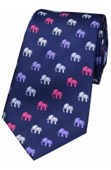Soprano Multicoloured Elephants On Navy Ground Country Silk Tie