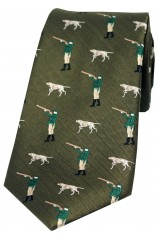 Soprano Green Hunter And Pointer Dog Country Silk Tie