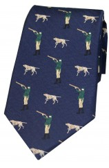 Soprano Navy Hunter And Pointer Dog Country Silk Tie