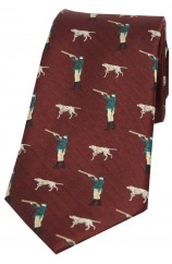 Soprano Wine Hunter And Pointer Dog Country Silk Tie
