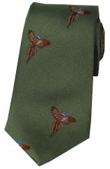 Soprano Flying Pheasants On Country Green Ground Country Silk Tie