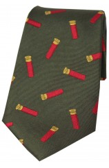 Soprano Gun Cartridges On Green Ground Country Silk Tie
