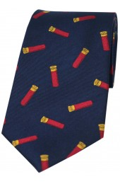 Soprano Gun Cartridges On Navy Blue Ground Country Silk Tie