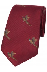 Soprano Flying Pheasants On Wine Ground Country Silk Tie