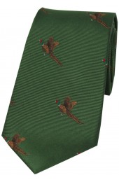 Soprano Flying Pheasants On Green Ground Country Silk Tie