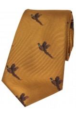 Soprano Flying Pheasants On Golden Ground Country Silk Tie