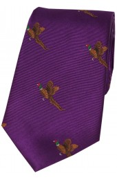 Soprano Flying Pheasant On Purple Ground Country Silk Tie