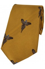 Soprano Flying Pheasants On Gold Ground Country Silk Tie