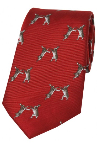 Soprano Boxing Hares On Red Ground Country Silk Tie