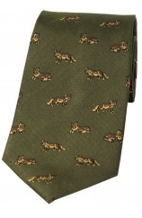 Soprano Foxes On Green Ground Country Silk Tie