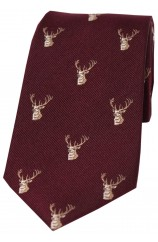 Soprano Stags Heads On Wine Ground Country Silk Tie