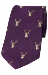 Soprano Stags Heads On Brown Rust Ground Country Silk Tie