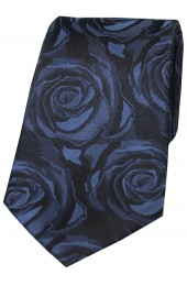 Soprano Navy Rose Wedding Silk Tie