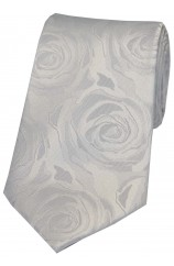 Soprano Silver Rose Wedding Silk Tie