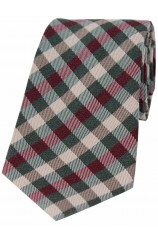 Soprano Country Green Wine and Ivory Checked Wool Rich Tie