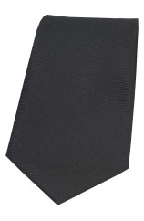 Soprano Black Horizontal Ribbed Polyester Tie