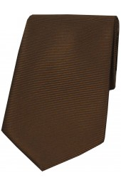 Soprano Brown Horizontal Ribbed Polyester Tie