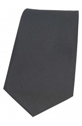 Soprano Charcoal Grey Horizontal Ribbed Polyester Tie