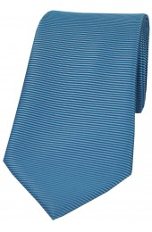 Soprano Mid Blue Horizontal Ribbed Polyester Tie