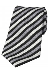 Soprano Grey and White Striped Polyester Tie