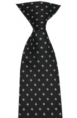Soprano Black Clip-on Tie With Small Flowers Polyester Tie