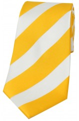 Soprano Gold and White Bold Stripe Polyester Tie