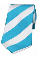 Soprano Turquoise and White Bold Stripe Polyester Tie