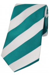 Soprano Teal and White Bold Stripe Polyester Tie