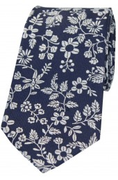 Soprano Navy Ground With Multi White Flowers Silk Tie